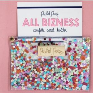 Packed party confetti card holder